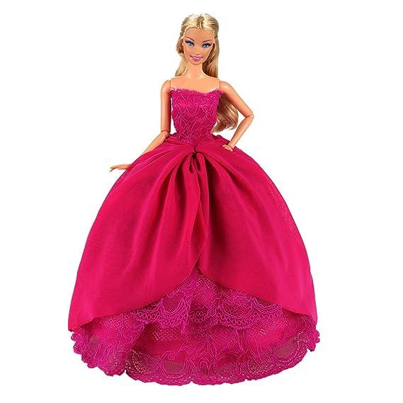 Amazon.es: Miunana 1 Princesa Elegante Vestido de Noche Novia Vestir Boda Ropa de Fiesta para la Muñeca del Barbie Doll: Juguetes y juegos