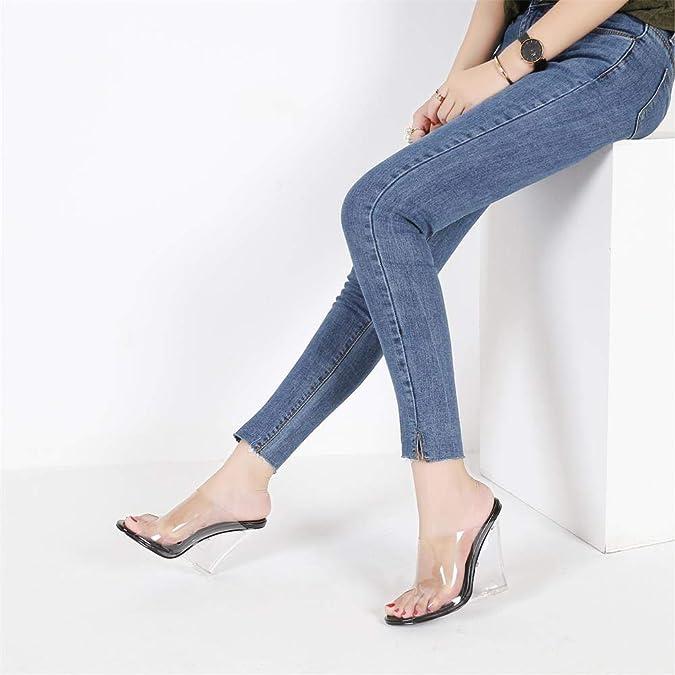 7485a9c1f07e Amazon.com  MACKIN J 405-1 Women s TPU Lucite Clear Wedge Heel Open Toe Slip  On Mule Dress Shoe  Shoes