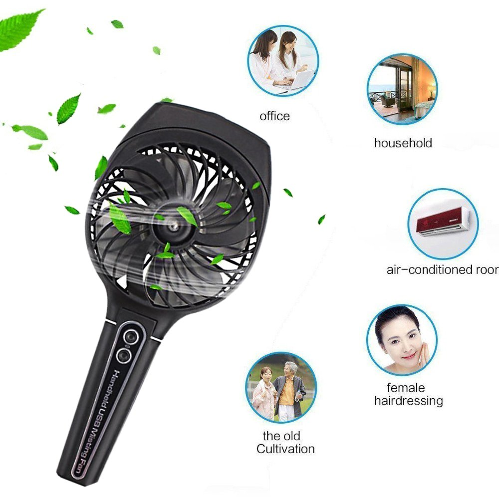 wivarra Mini Handheld USB Misting Fan with Personal Cooling Mist Humidifier Rechargeable Portable Handheld Spray Cooling Fan for Home Office and Travel (Black)