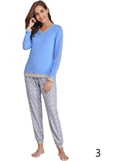 f138b17df9 Abollria Women Cotton Pajama Set Henley Top with Plaid Pants Long Sleeve  Loungewear Set Sleepwear