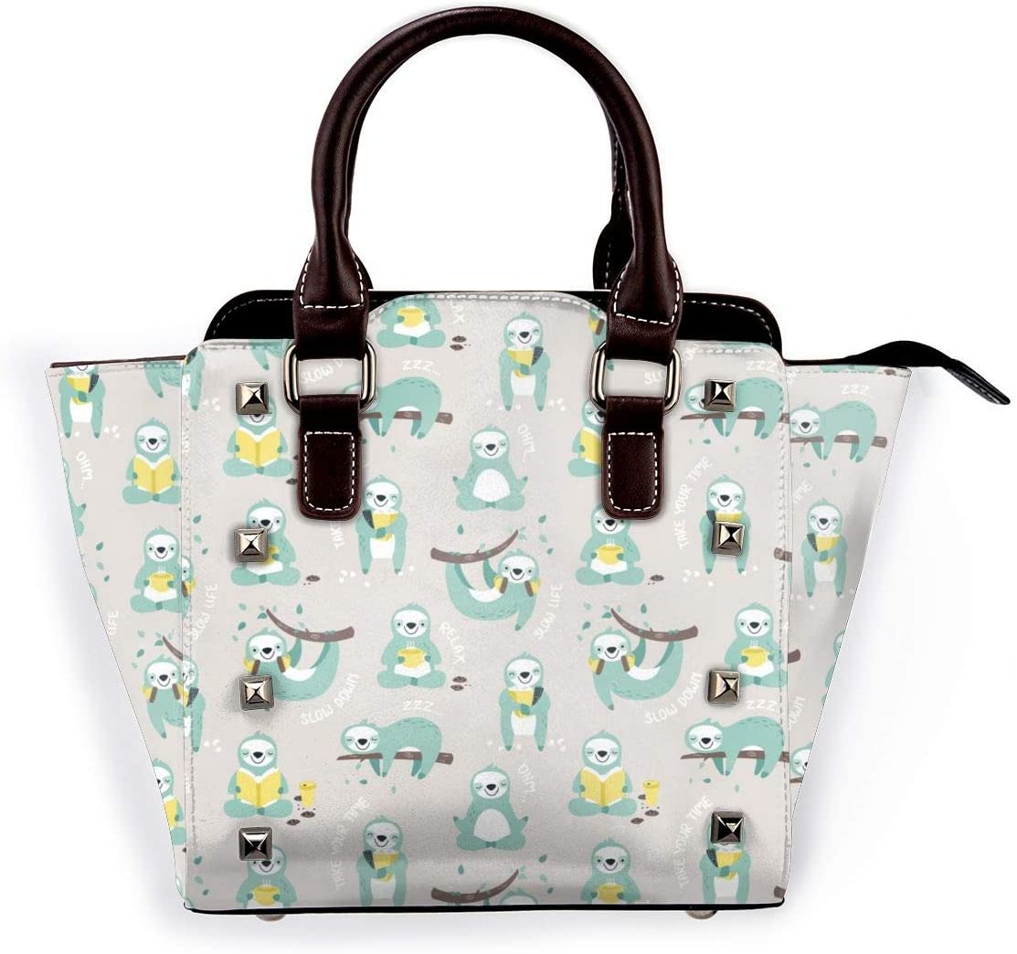 GHUJAOOHIJIO Cute Sloths Womens Rivet PU Leather Tote Bag Shoulder Bag Purse