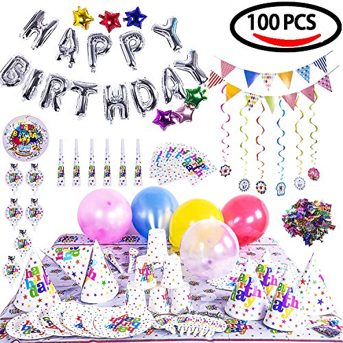 Fun Little Toys 100PCs Birthday Party Decoration Theme Assorted Set - Silver Letter Star & Colorful Balloons, Confetti, Banner, Cup, Tablecloth, Napkin, Plates, Flags, Trumpets