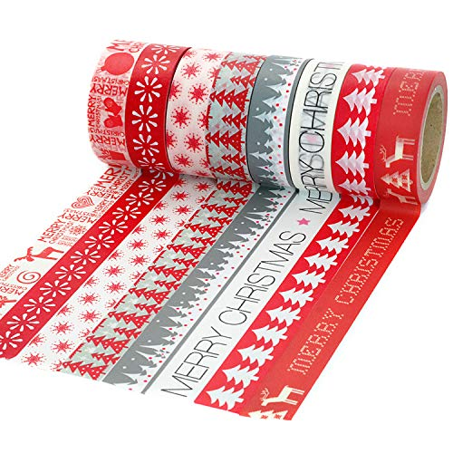 Crafty Rabbit Christmas Washi Tape - Set of 8 Rolls - 262 Feet Total - Red, Grey, White (Gifts Diy Duct Tape Christmas)
