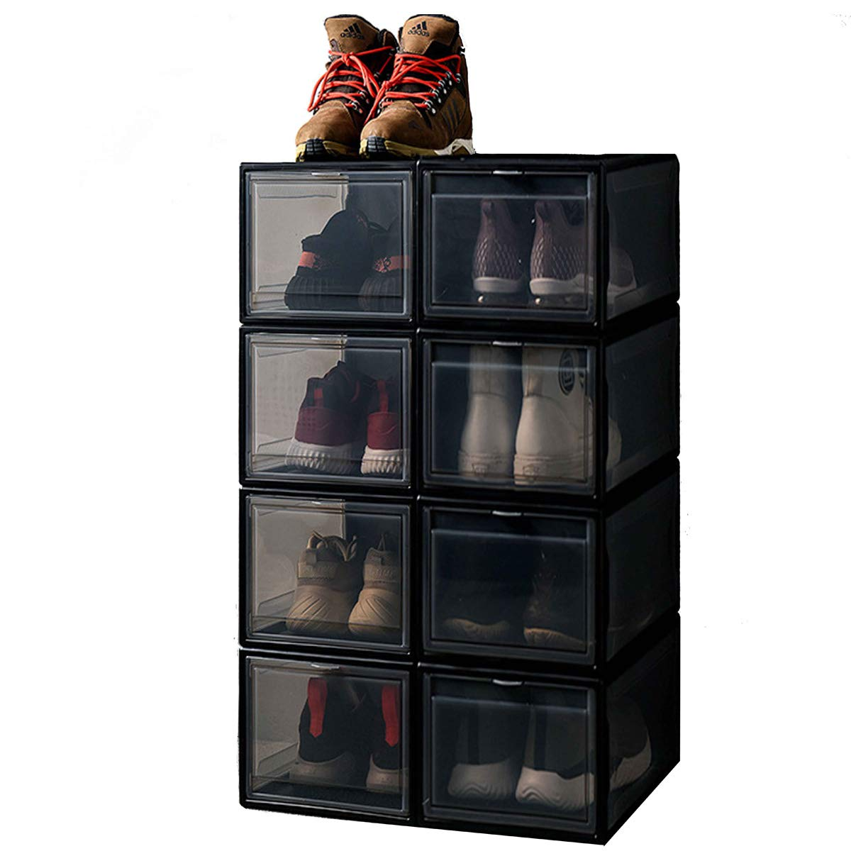 Wide AltraTech Shoe Box 4 Pack Drop-Front Shoe Storage Large Size Shoe Organizer Stackable for Shoe Collection Display Black