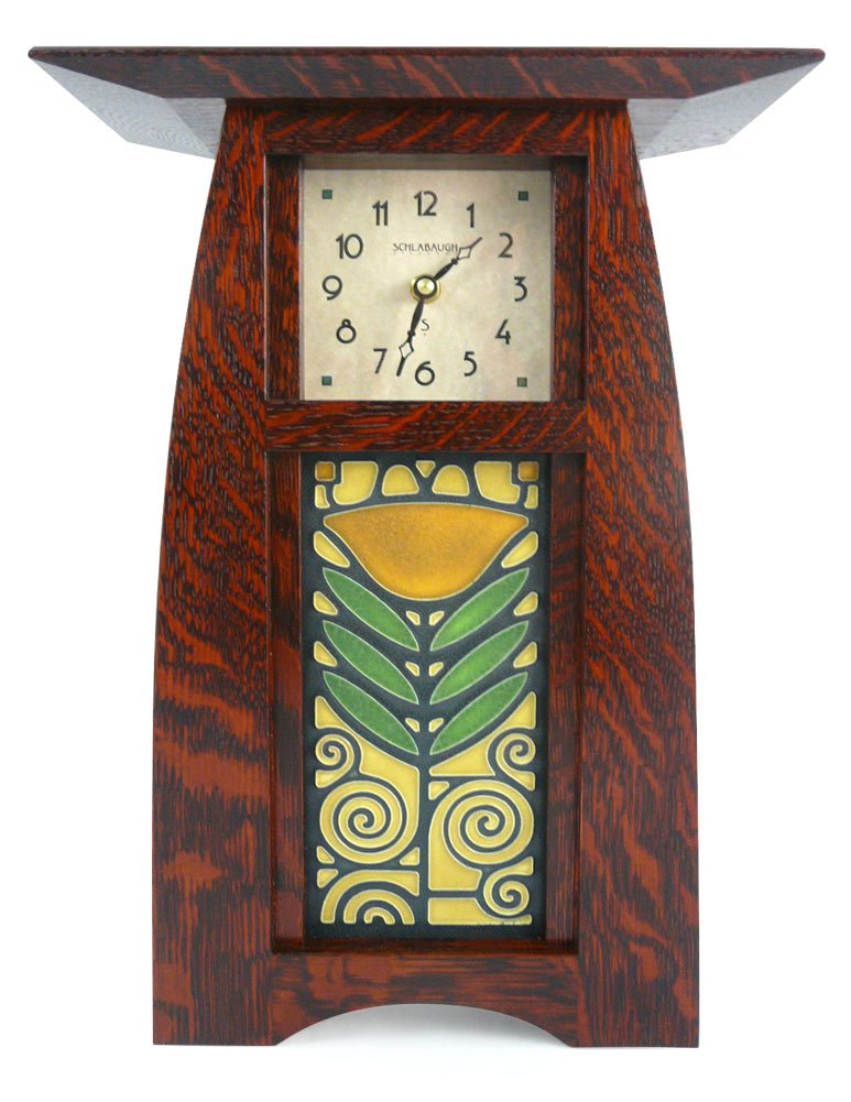 American Made Arts and Crafts Style Mantel/Shelf Clock With Poppy Tile, Dark Oak Finish, 14.5''