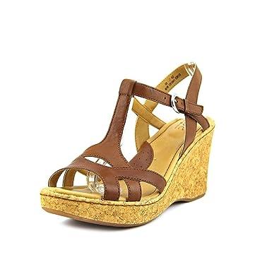 3057b181af B.O.C. Eponine Saddle Leather Platform Wedge Sandals Women Size 10 M Brown