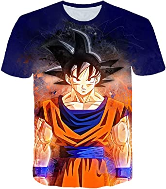 Dragon Ball Z Ultra Instinct God Son Goku Super Saiyan Hombres Camiseta 3D Impreso Verano O-Cuello Diario Casual Camiseta Divertida Tallas Grandes