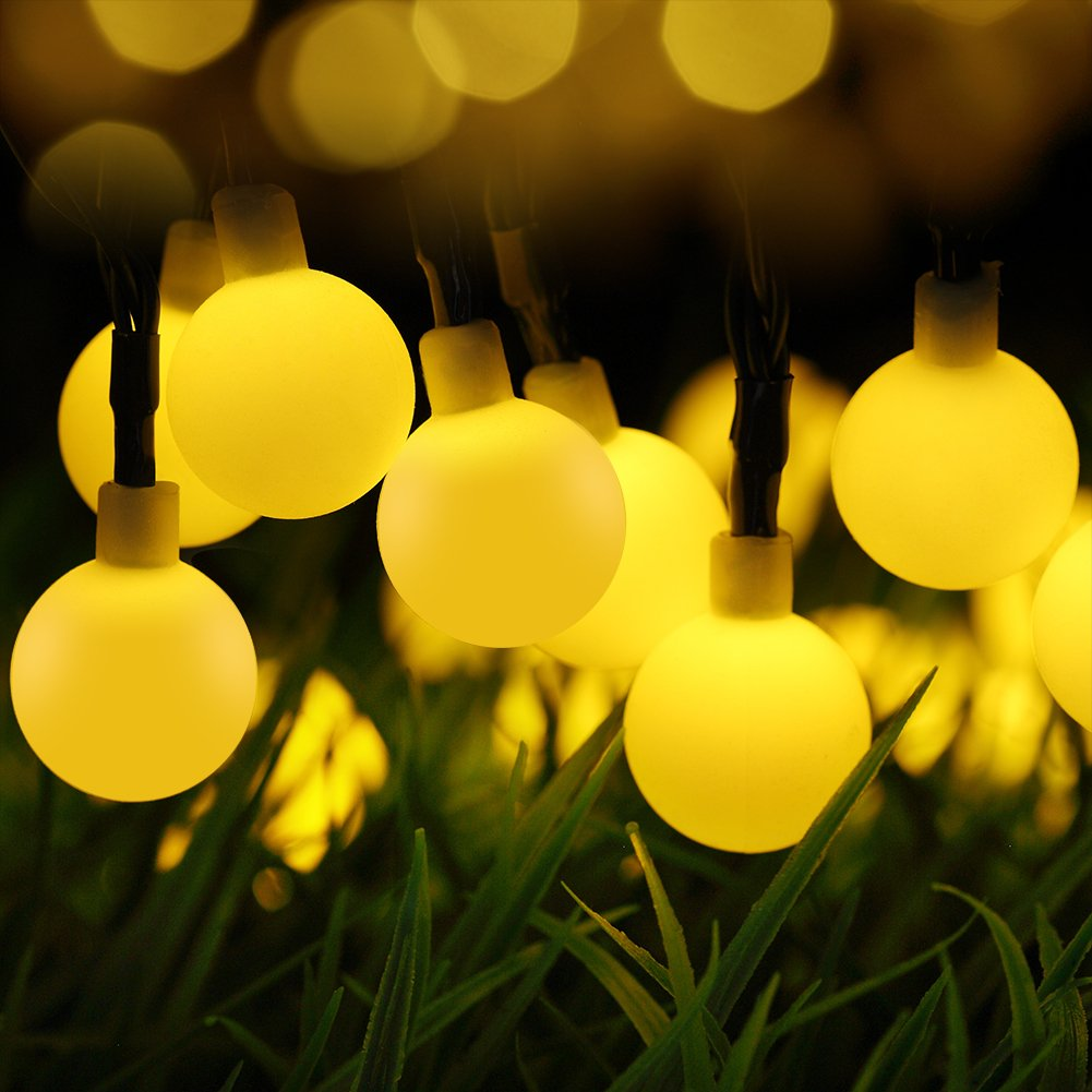 Amazon.com : GDEALER Solar Outdoor String Lights 31ft 50 LED Waterproof Ball  Lights Christmas Lights Solar Powered Starry Fairy String Lights For  Garden, ...