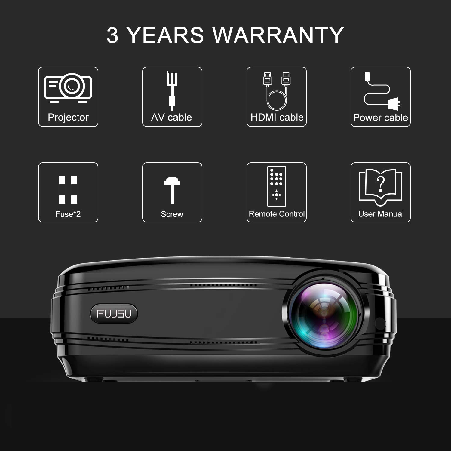 Projectors, FUJSU Full HD Video Projectors for PowerPoint Presentation,  3800LM Home Movie Projector for Laptop, PC, TV, iPad, iPhone, Android, SD