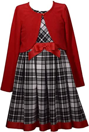 Bonnie Jean Holiday Plaid Dress with Red Sweater Cardigan for Infant, Toddler, Little and Big Girls