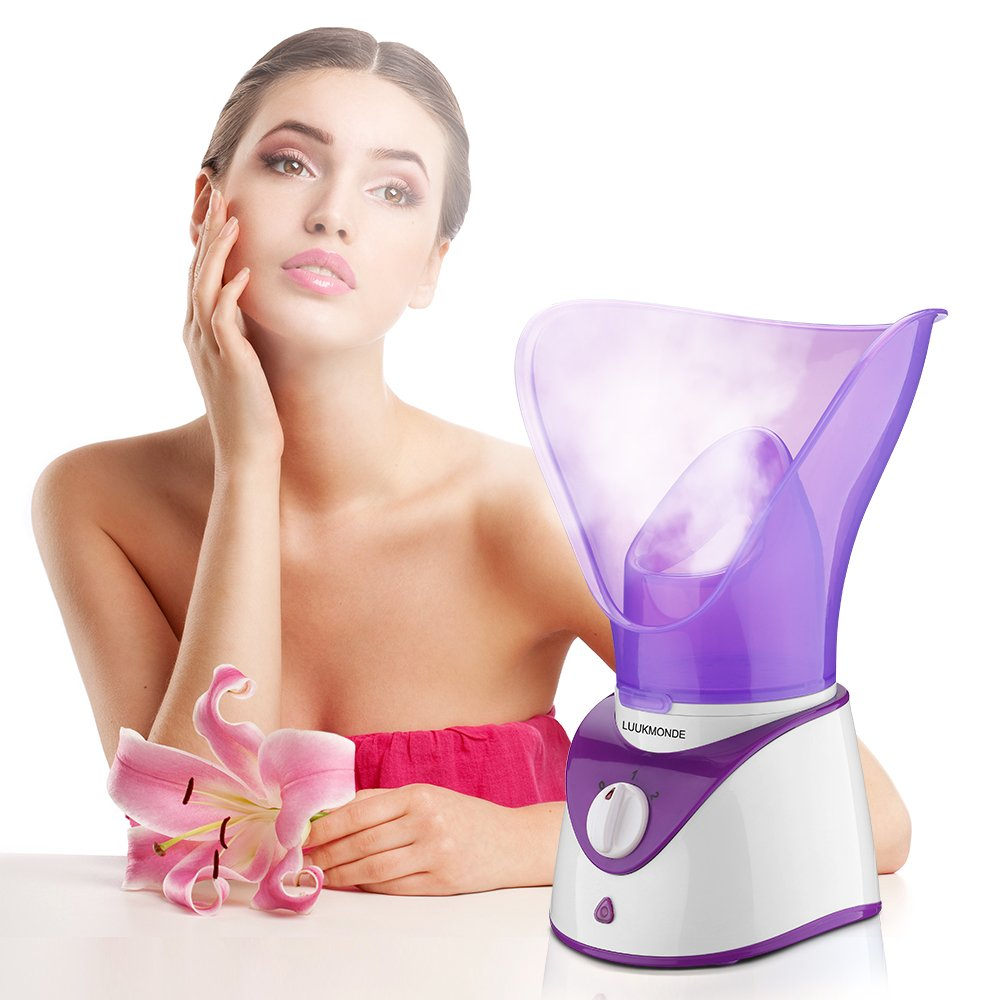 Facial Steamer Home Facial Sauna SPA Warm Mist Moisturizing Pores Cleanse Clear Blackheads Acne Aromatherapy Skin Care Humidifier by LUUKMONDE