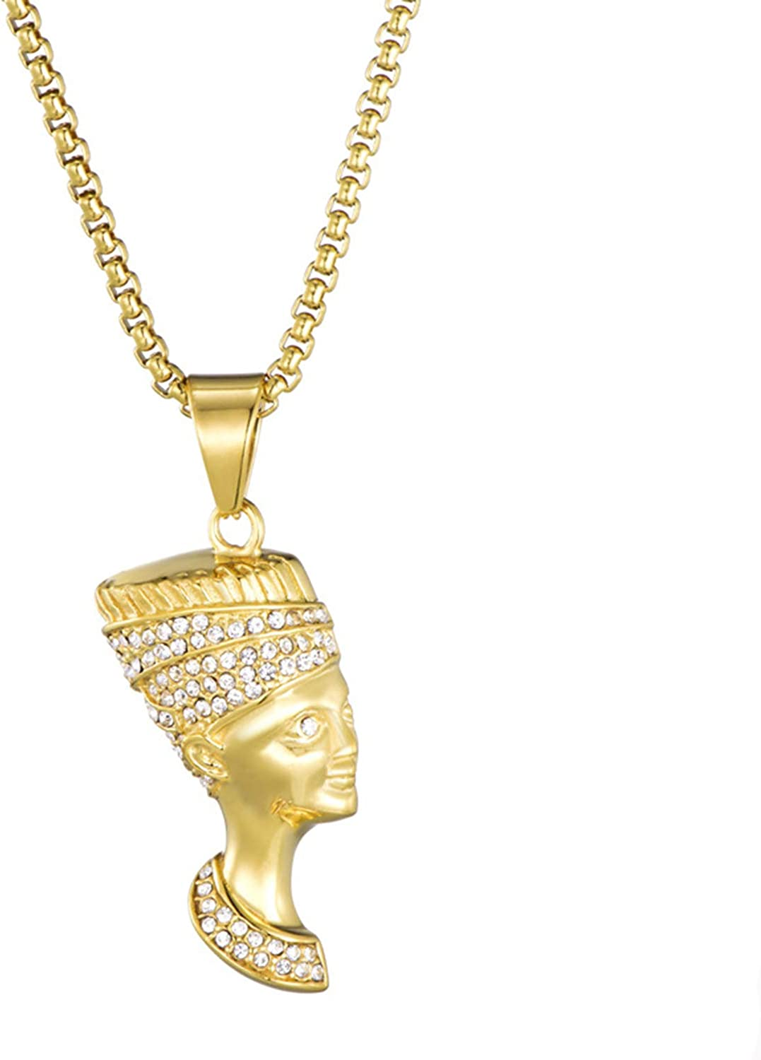 24 Inch Chain Egypt Queen Nefertiti Jewelry Lee Island Fashion 24K Gold Plated Cleopatra Egyptian Pendant Stainless Steel Necklace for Men Women