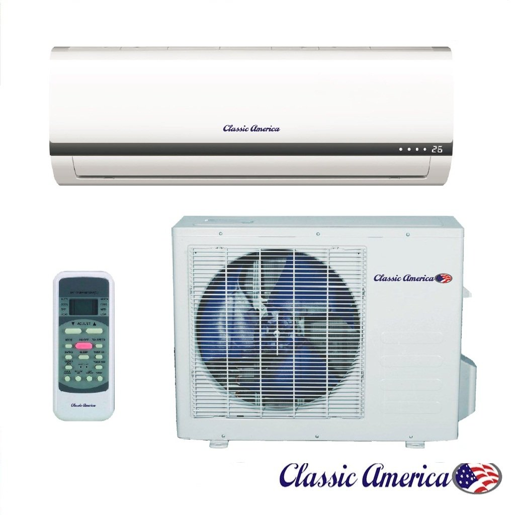 Classic America Ductless Wall Mount Mini Split Inverter Air Conditioner with Heat Pump, 12,000 BTU (1 Ton), 16 SEER 110-120 VAC, Full Set