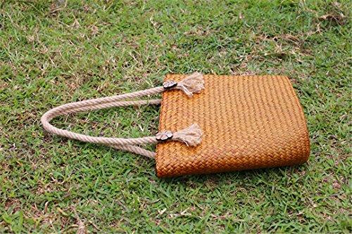 De Huang Gran VersióN huang Hombro del De Vestido Bolso De A Paquete Retro Mano Paquete BoBoLaLa A Tejido Paquete De Playa De Mimbre Hierba Escala Tailandesa CqHvdvwS