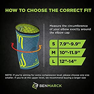 Elbow Compression Sleeve, Support Brace, Best for Tennis Golf Weightlifting Men Women, Tendonitis Recovery Wrap by Benmarck (Fjord Blue, Medium)