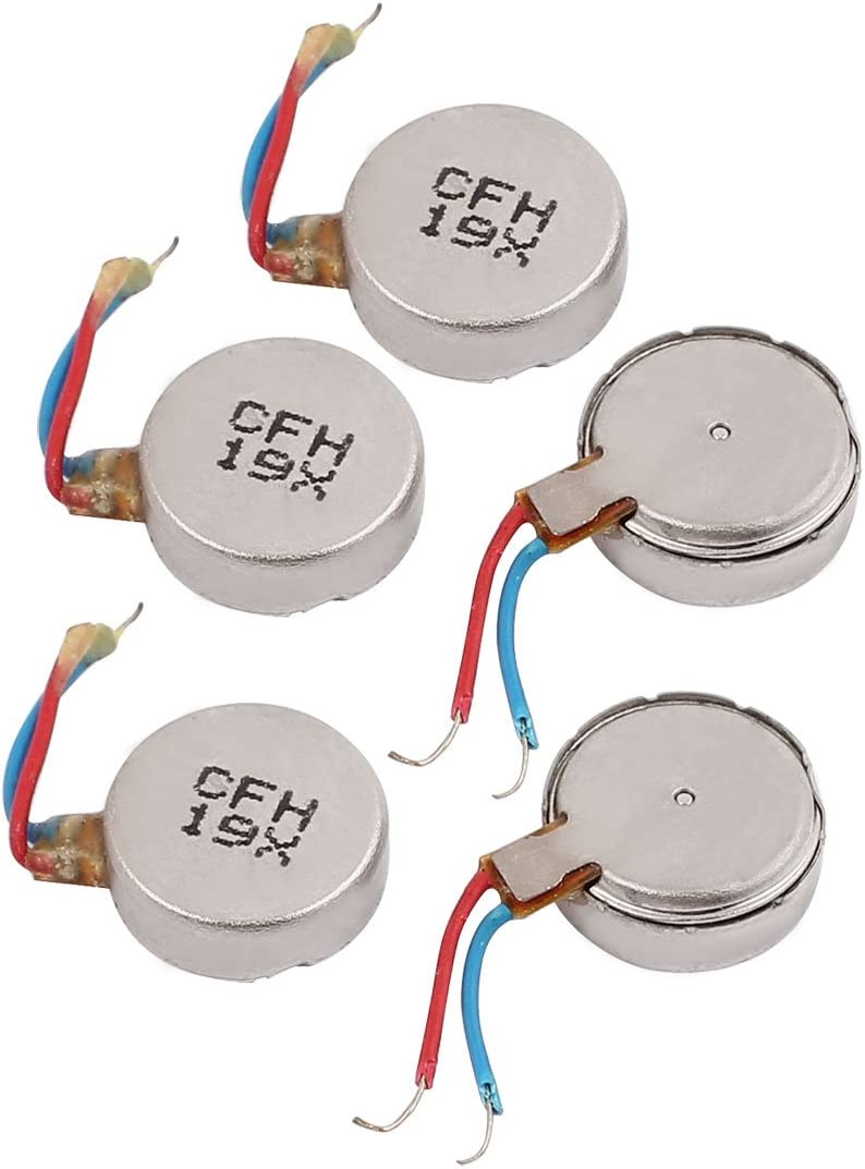 uxcell 5Pcs DC3V 12000RPM Mobile Phone Vibrating Motor Flat Coin Vibration Mini Motor