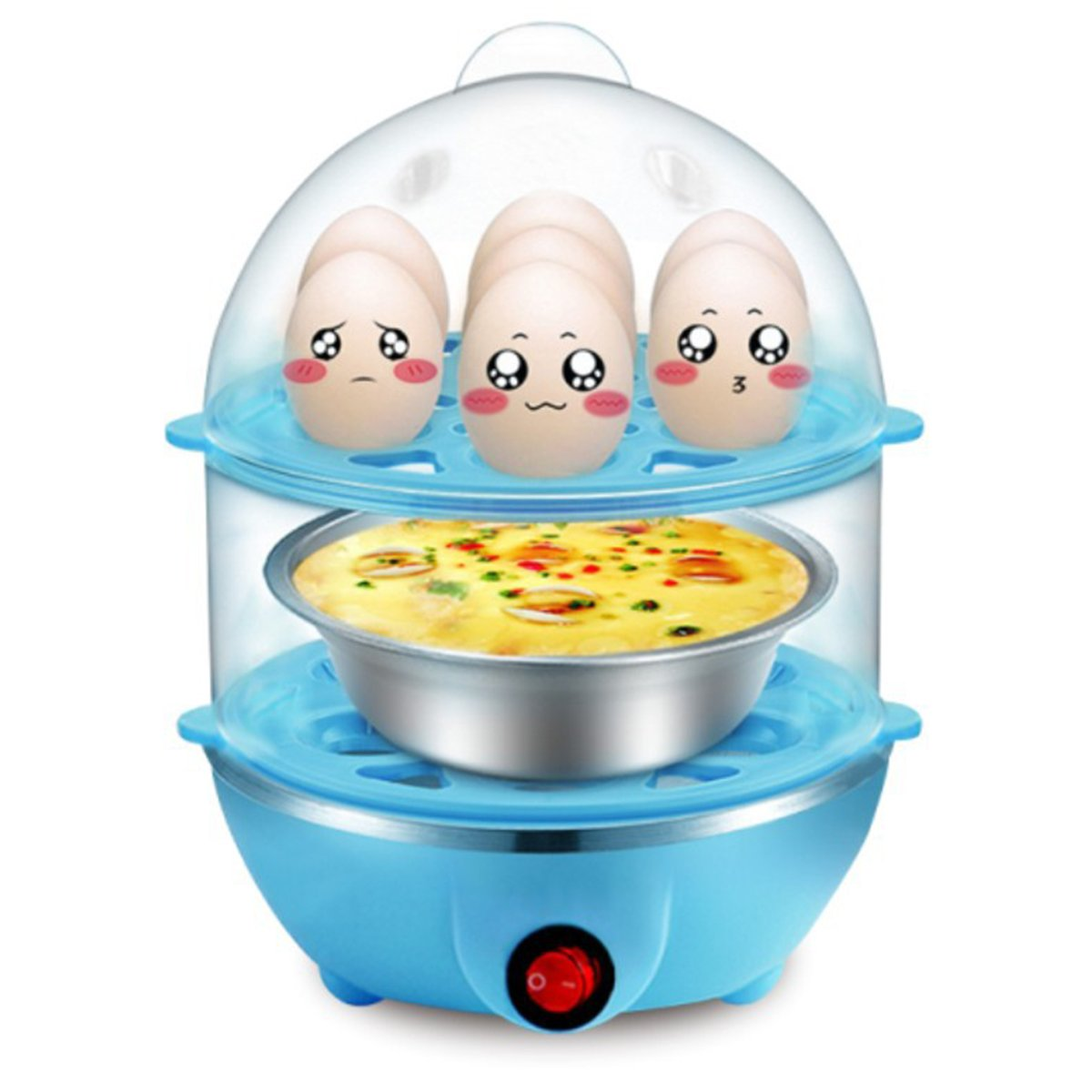 Egg Steamer 14 Egg Double-Layer Lazy Egg Steamer Large-Capacity Electric Boiled Egg Multifunction, Boiled Egg, Heated Milk, Heating, Etc. With Automatic Shutdown Function。 (Bule) DUODEDUO