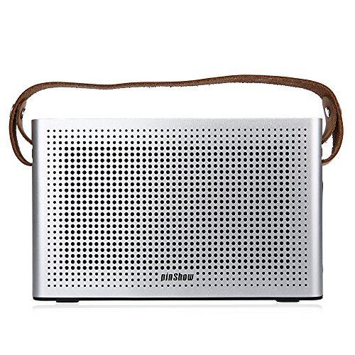 PINSHOW Goldentime Cowhide Strap Portable Bluetooth 4.0 Wireless Speaker Support Power Bank Function (Silver) by PINSHOW (Image #3)