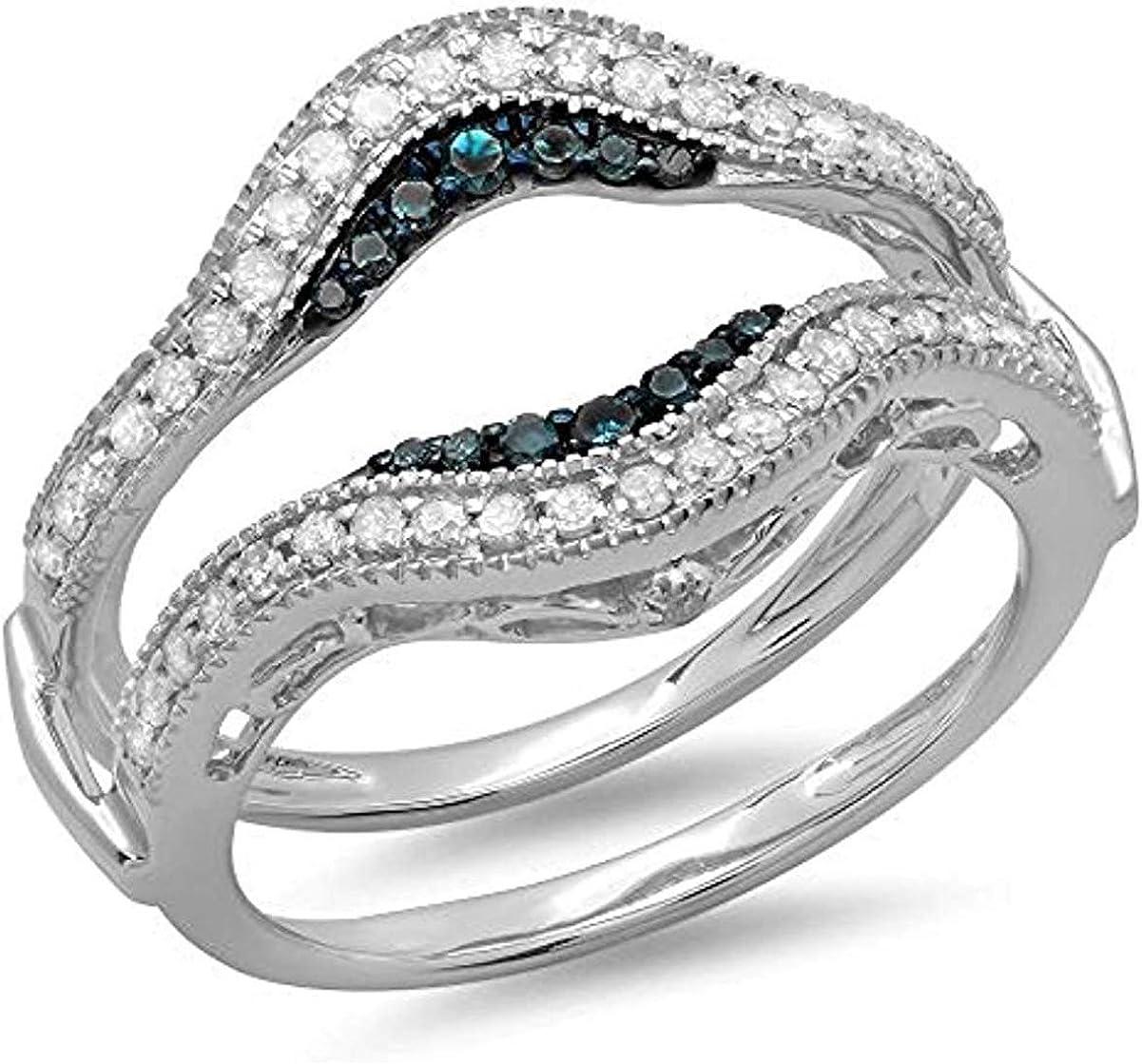 0.50 Ct Round London Blue Topaz Diamond Women's Engagement Wedding Milgrain Enhancer Ring Guard 925 Sterling Silver