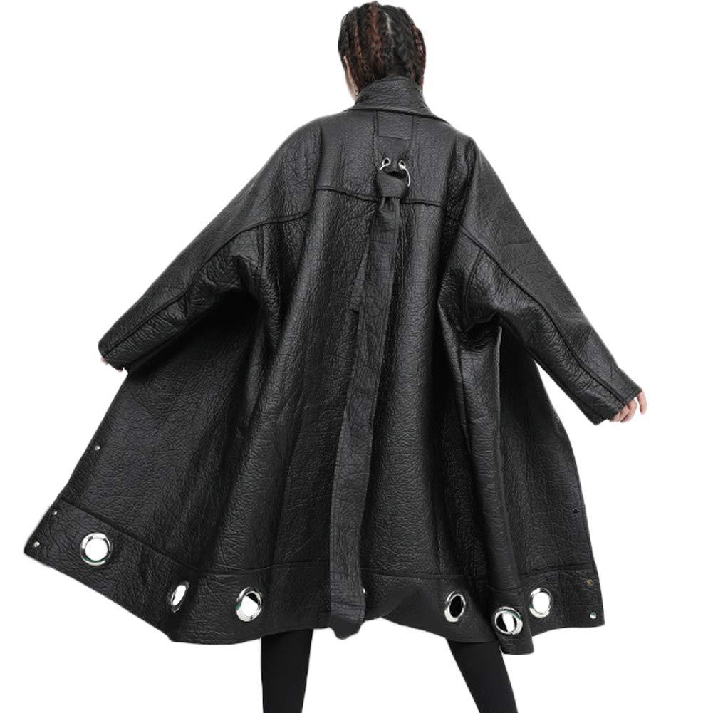 MASSS WASSS Fashion Korean Winter Womens Faux Leather Jackets Casual Warm Fur Long Coats Plus Size