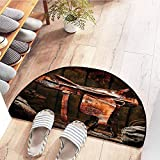 SEMZUXCVO Door mat Customization Western Decor Collection Rodeo Cowboy Leather Western Saddle on Wood Beam in Rustic Ranch Wood Barn Picture Hard and wear Resistant W36 x L24 Dark Brown