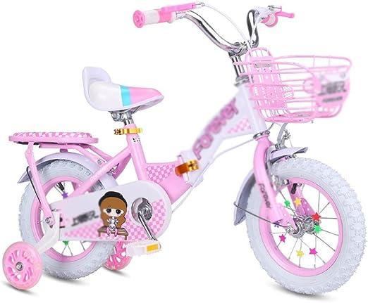 MDYMX Bicicleta para niños Bicicleta de Pedales Plegable Rosa para ...