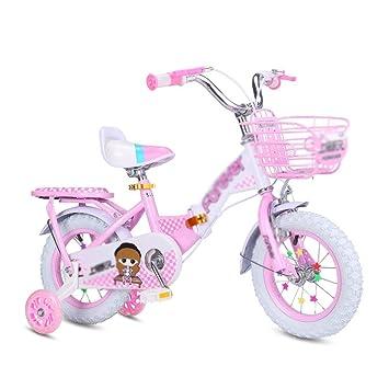 LPYMX Bicicleta para niños Bicicleta de Pedales Plegable Rosa para ...
