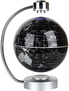 Weltkarte Erde Floaten Rotierende Einzigartige Geschenke f/ür Home Office Schreibtisch Dekoration Bildung Teaching Demo Silber schwarz C Form Magnetische Schweben Globus mit Led Display St/ütze