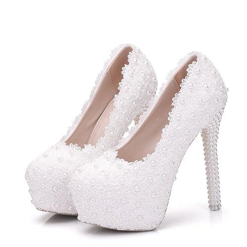 a3377247 Zapatos de Mujer PU Primavera Otoño Confort Zapatos de Novia Tacón de Aguja  Punta Redonda Perla
