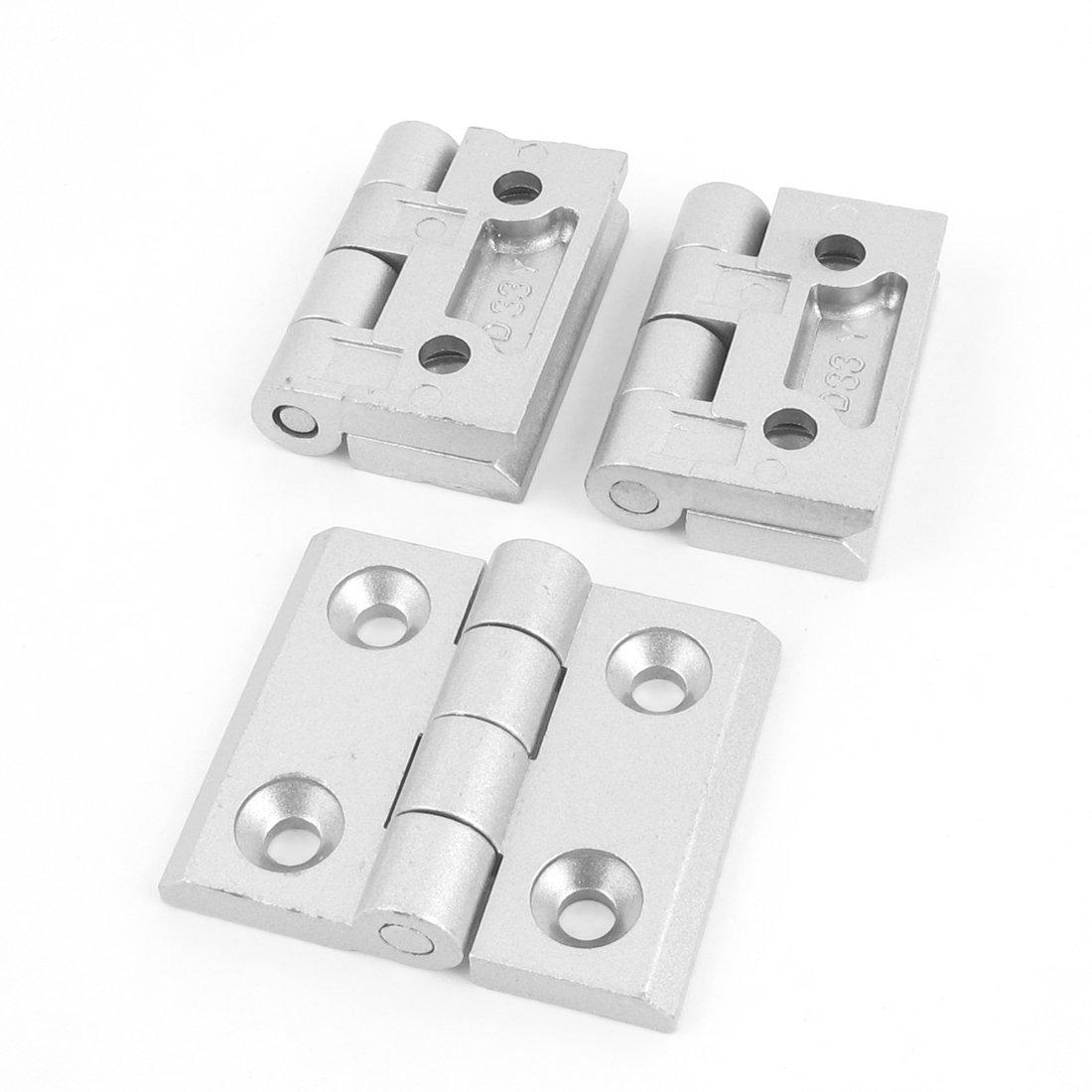 uxcell Gate Aluminum Alloy Weldable Door Butt Hinge Silver Tone 3pcs