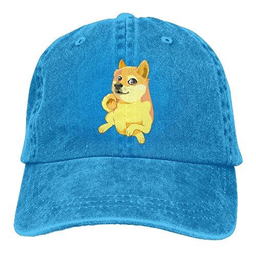 Qbeir Funny Dog Adjustable Adult Cowboy Cotton Denim Hat Sunscreen Fishing Outdoors Retro Visor -
