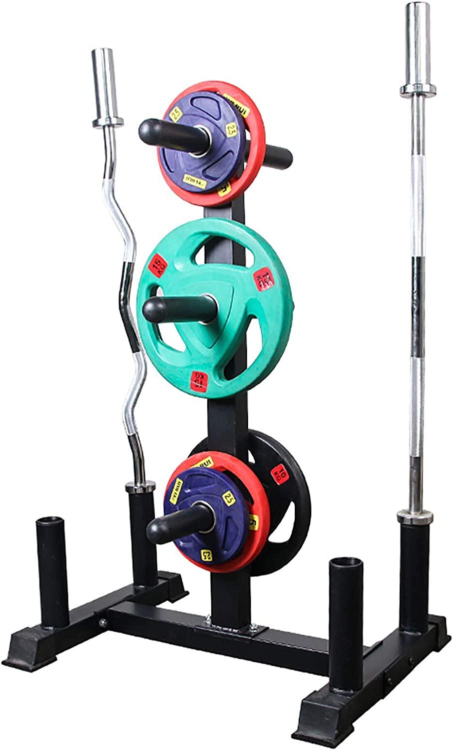YF-1 3-Tier Home Dumbbell Rack Olympic Weight Tree with 4 Olympic Barbell Holder Stands for Gym Organization