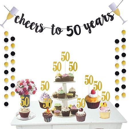 Deruicc - Kit de decoración para fiesta de 50 aniversario de ...