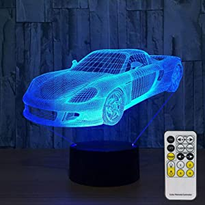 Aidool 3D Night Lights for Kids with Remote Controller LED Touch 7 Colors Changing Toy Sport Car Desk Lamp