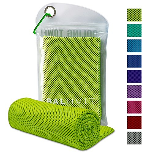 Balhvit Cooling Towel, ZAMAT Cool Towel for Instant Cooling Relief, Chilling Neck Wrap, Ice Cold Scarf for Men Women, Microfiber Bandana - Evaporative Chilly Towel for Yoga Golf Travel (Green, 4714)