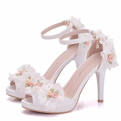 Damenschuhe Mode Sandalen Weiß Fein mit High Heel