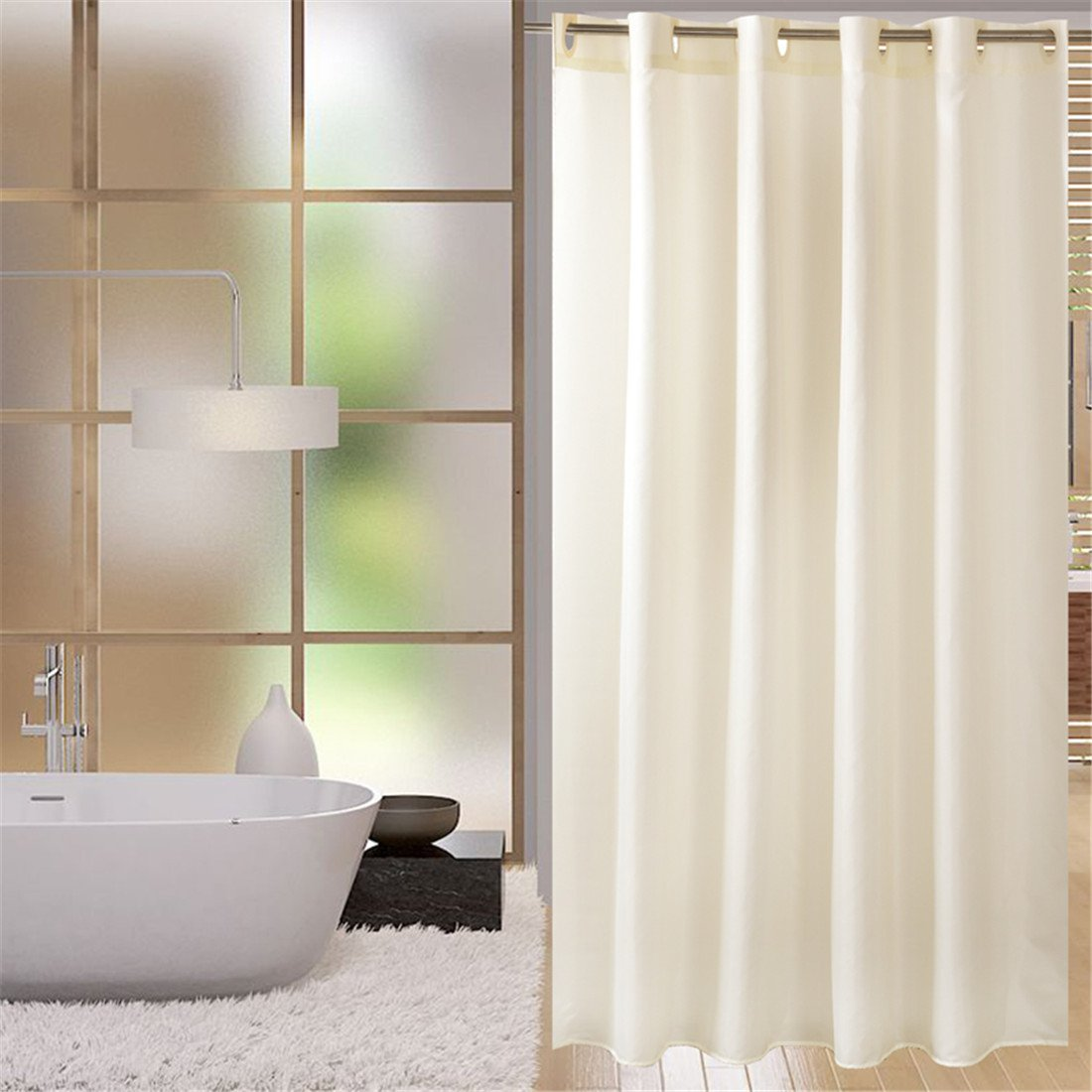 LUCKYHOUSEHOME beige Polyester, wasserdicht und antibakteriell Thickening Badezimmer Duschvorhang Hookless Duschvorhang, Polyester, beige, Wide x Height 94 x 78 inch (240 x 200 cm) B07CNNYZVL Duschvorhnge