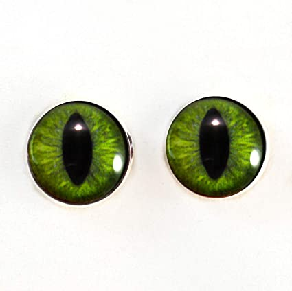 Masks Jewelry Making Taxidermy and More Props 25mm Blue and Green Cheshire Cat Fantasy Glass Eyes Unique Pair for Art Dolls Fursuits Sculptures