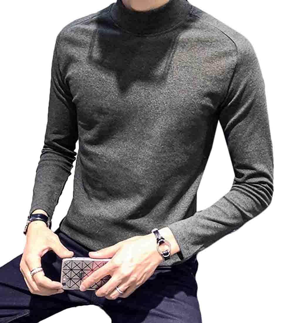 Frieed Men Solid Color Long Sleeve Classic Turtleneck Cotton Tee Top T-Shirts