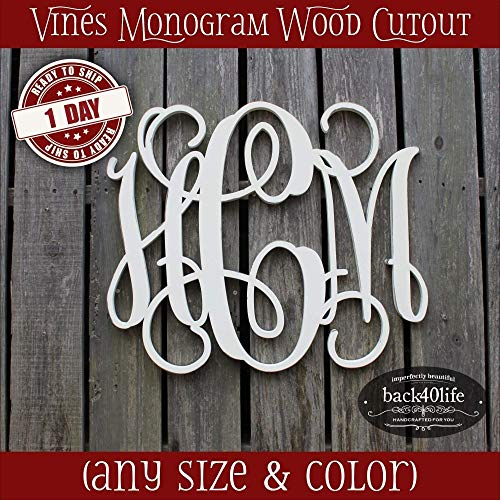 Wood Cottage Nursery - 8-36 inch Vine Monogram Wood Letters Cutout Unfinished DIY or Painted Initial Decor Nursery Wooden Monogram