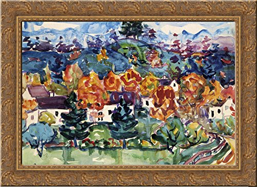 (Hillside Village 24x20 Gold Ornate Wood Framed Canvas Art by Prendergast, Maurice)