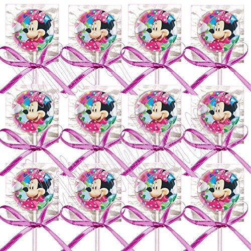 Minnie Mouse Party Favors Supplies Decorations GENERIC Lollipops w/ Hot Pink Bows Favors -12 pcs (Minnie Mouse Lollipops)