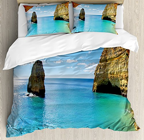 Natural Cave Decorations Duvet Cover Set by Ambesonne, Stone Gorge and Pavilion Image Asian Faith Temple Architecture Grace Scenery Decor, 3 Piece Bedding Set with Pillow Shams, Queen / Full, Multi by Ambesonne