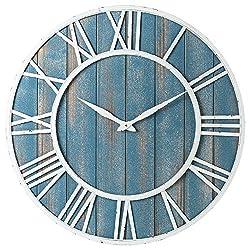 Coastal Wall Clock - Metal & Solid Wood Noiseless Weathered Beach Coastal Blue Wall Clock (Coastal Blue, 30-inch)
