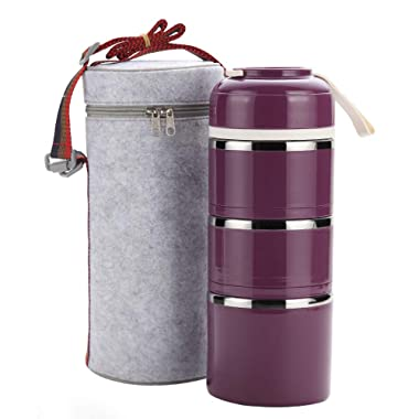 Stackable Lunch Box, ArderLive Portable Stainless Steel Insulated Lunch Box with Lunch Bag (purple-3) (Purple,3layer)