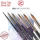 Professional Watercolor Brushes for Gouache, Watercolors, Fluid Acrylics and Inks - Round, Pointed, Long-Lasting Squirrel and Synthetic Blend, Short Handle, 6-pcs Set, Black Tulip Collection by ZenArt