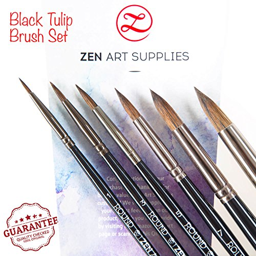Professional Watercolor Brushes for Gouache, Watercolors, Fluid Acrylics and Inks - Round, Pointed, Long-Lasting Squirrel and Synthetic Blend, Short Handle, 6-pcs Set, Black Tulip Collection by - World Discount Pc Student