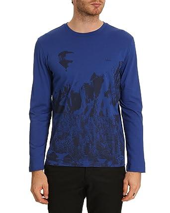 Shirt Manches Tshirt Lacoste Homme Impriméà Marine T Longues tsdhQr