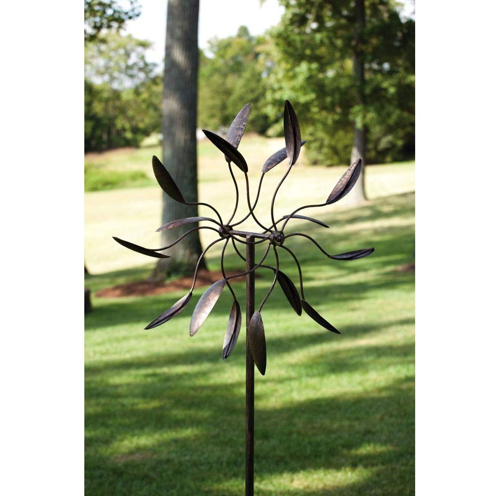 BeUniqueToday Spinning Metal Outdoor Garden Art Wind Spinner, Features Animated Design, Powder-Coated Metal Finish, Beautiful Black Spinning Metal Outdoor Garden Art Wind Spinner