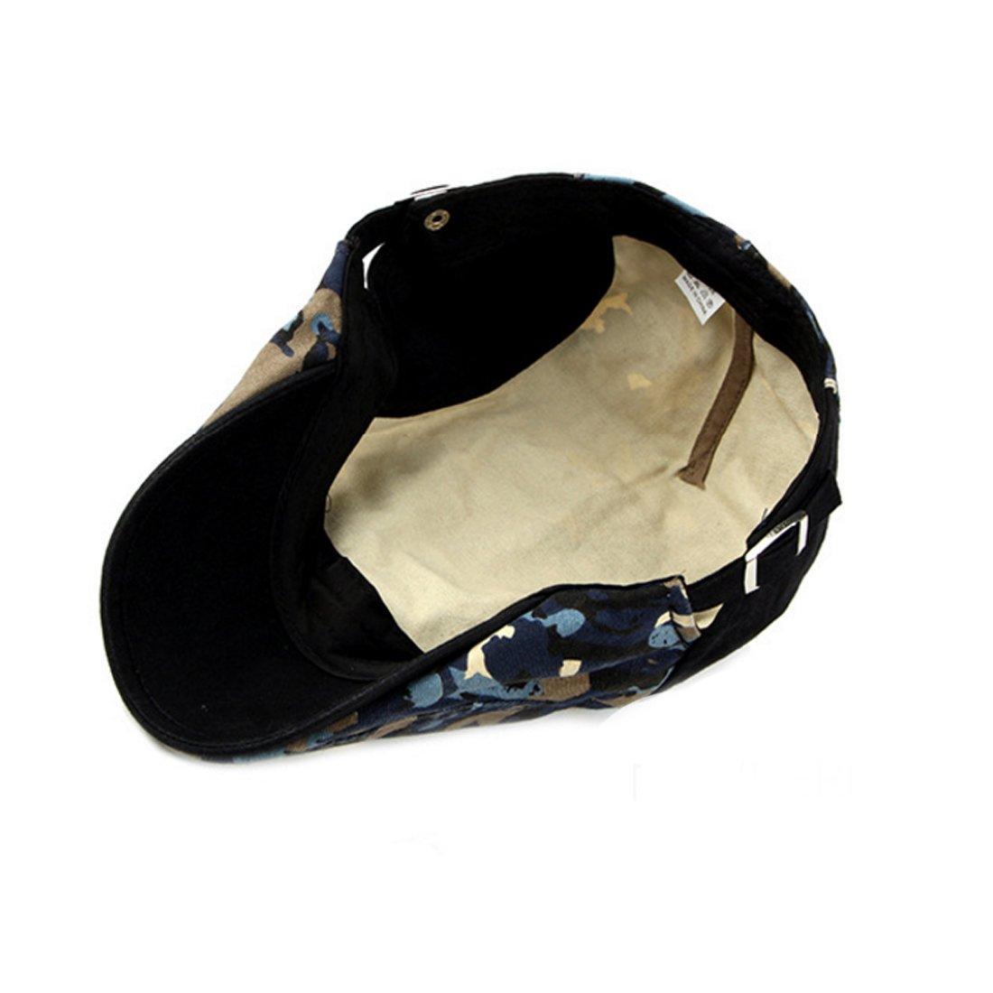 Camo Newsboy Flat Cap Cotton Cabbie Adjustable Gatsby Caps Hat Beret Hats